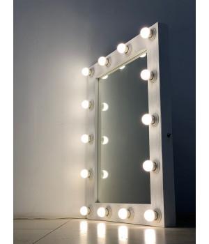 Гримерное зеркало 90x70 белого цвета с фактурой дерева 14 ламп